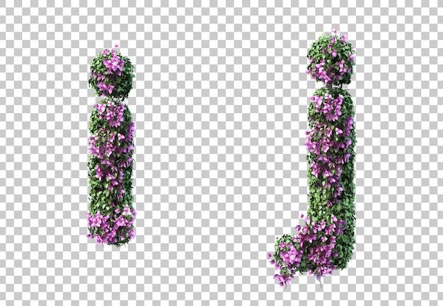 부겐빌레아 편지 I와 편지 J의 3d 렌더링 프리미엄 PSD 파일