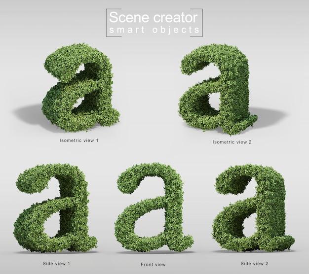 手紙aの形の茂みの3 dレンダリング Premium Psd