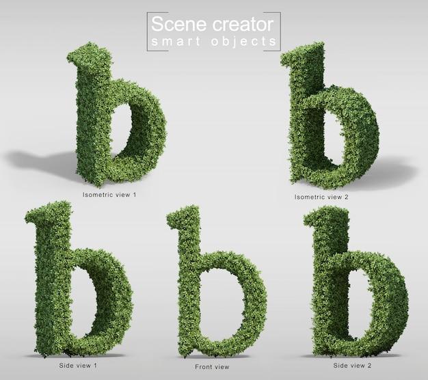 文字bの形の茂みの3 dレンダリング Premium Psd