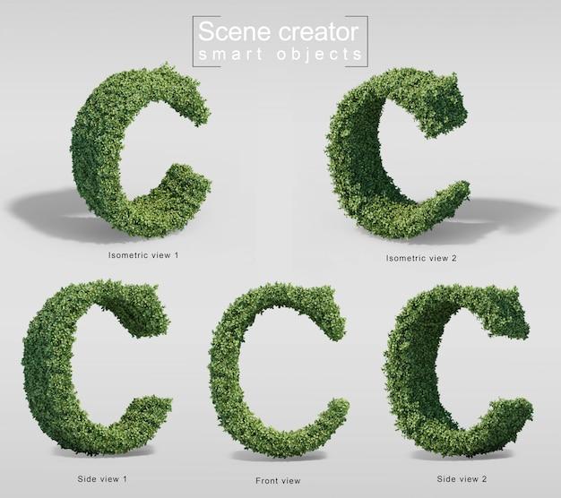 3d-рендеринг кустов в форме буквы c Premium Psd