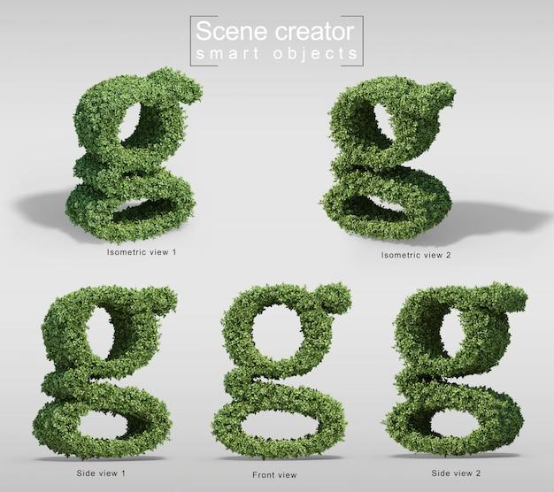 手紙gの形の茂みの3 dレンダリング Premium Psd