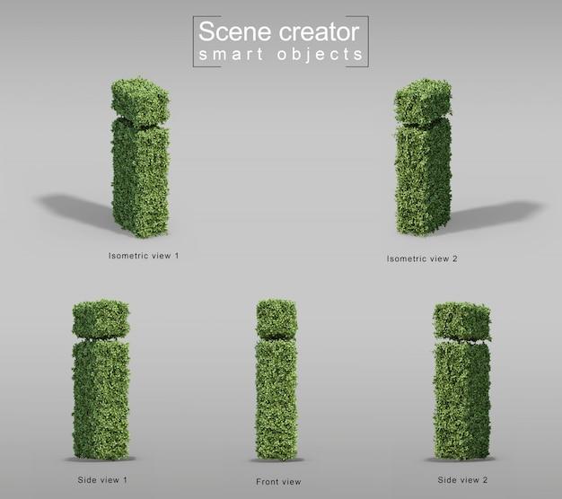 편지의 모양에 덤불의 3d 렌더링 프리미엄 PSD 파일