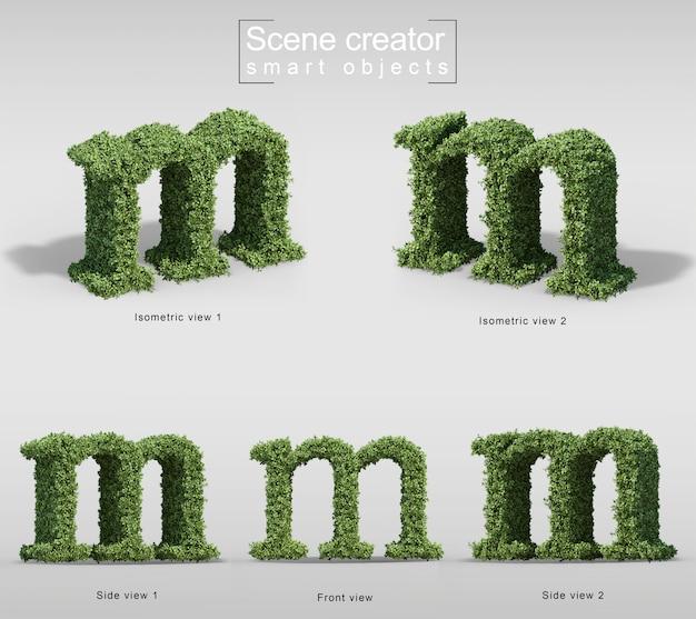 手紙mの形の茂みの3 dレンダリング Premium Psd