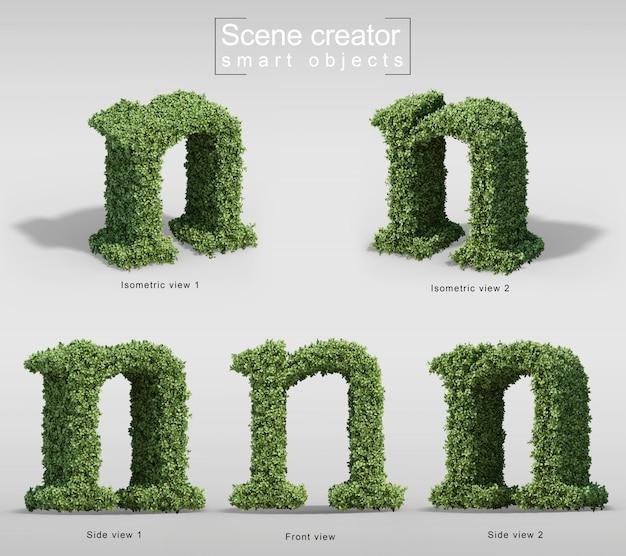 手紙nの形の茂みの3 dレンダリング Premium Psd