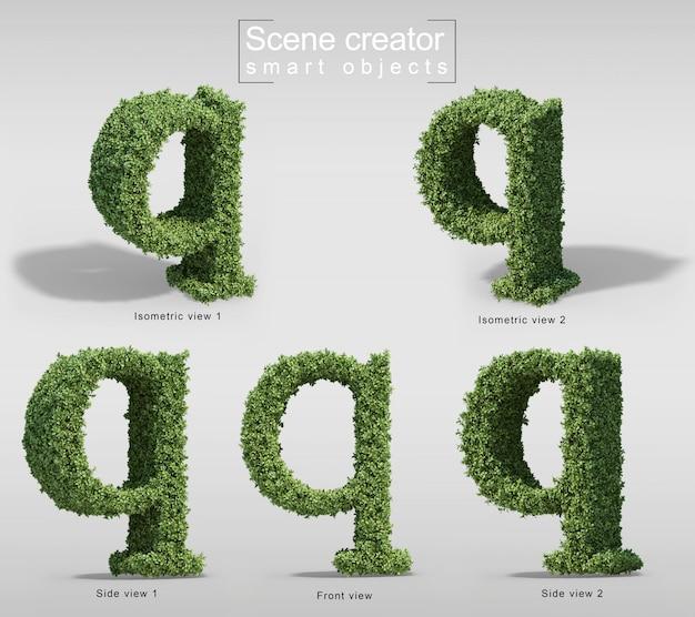 手紙qの形の茂みの3 dレンダリング Premium Psd