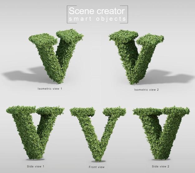手紙vの形の茂みの3 dレンダリング Premium Psd