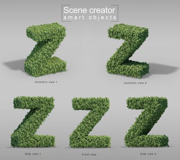 Zの文字の形の茂みの3 dレンダリング Premium Psd