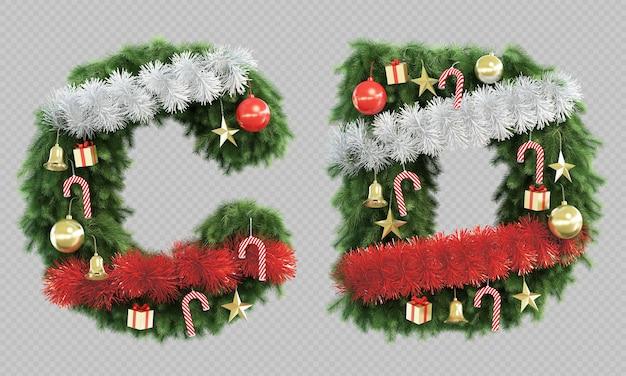 3d-рендеринг елки буквы c и буквы d Premium Psd