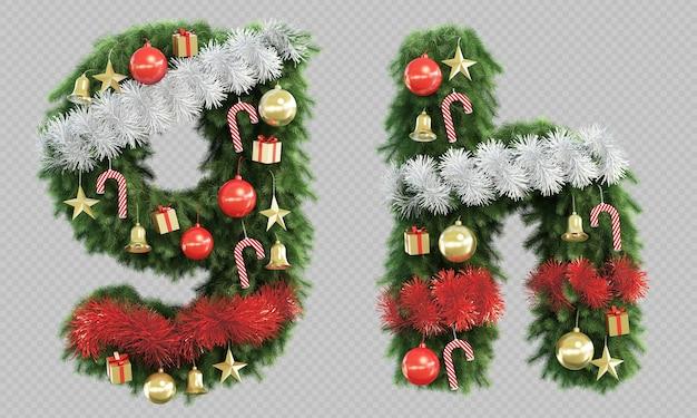 3d-рендеринг рождественской елки буквы g и буквы h Premium Psd