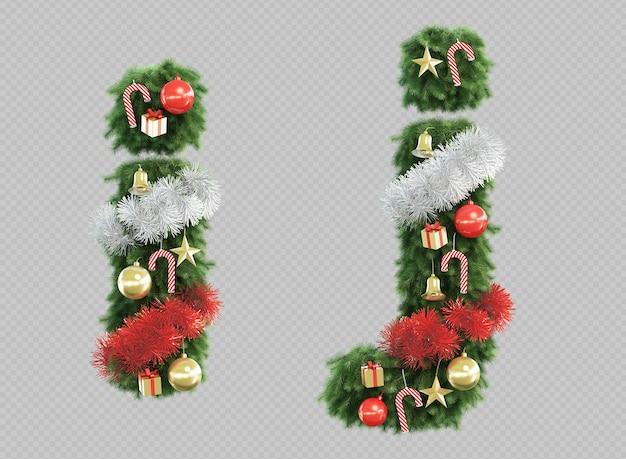 3d-рендеринг рождественской елки буквы i и буквы j Premium Psd