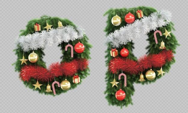 3d-рендеринг рождественской елки буквы o и буквы p Premium Psd