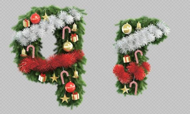 3d-рендеринг рождественской елки буквы q и буквы r Premium Psd