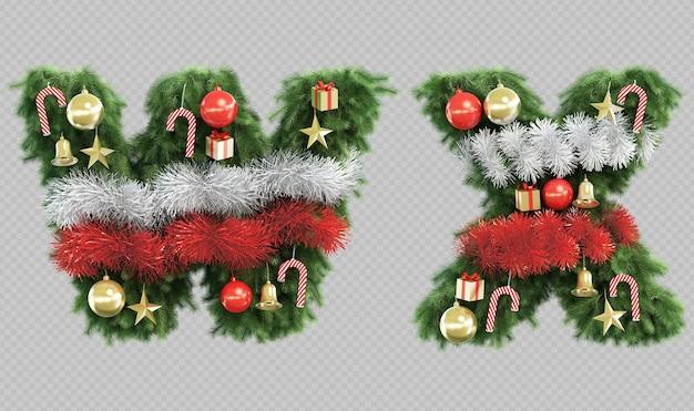 3d-рендеринг рождественской елки буквы w и буквы x Premium Psd