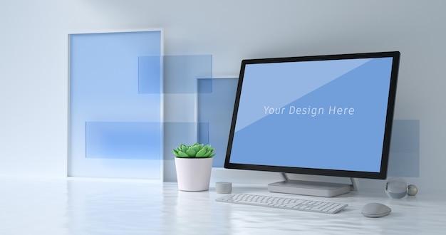 コンピューターモックアップの3dレンダリング Premium Psd