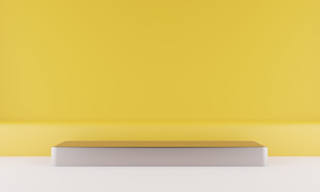 바닥에 기하학적 모양 연단의 3d 렌더링 프리미엄 PSD 파일