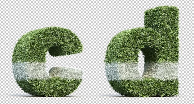 3d-рендеринг травы игрового поля алфавит c и алфавит d Premium Psd