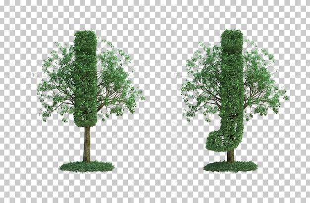 녹색 나무 편지 I와 편지 J의 3d 렌더링 프리미엄 PSD 파일