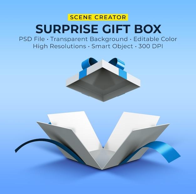 열린 깜짝 선물 상자의 3d 렌더링 프리미엄 PSD 파일