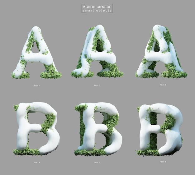 Aとbの文字のシーンクリエーターの形で茂みに雪の3 dレンダリング Premium Psd