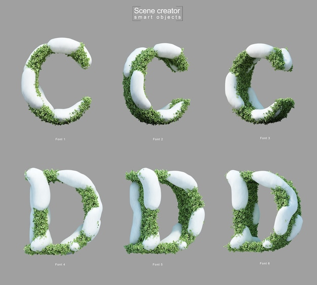 文字cと文字dのシーンクリエーターの形で茂みに雪の3 dレンダリング Premium Psd