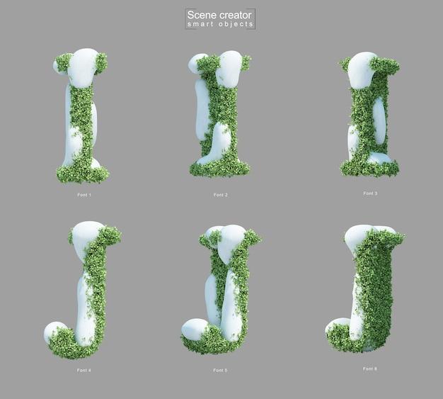 文字iと文字jのシーンクリエーターの形をした茂みの雪の3dレンダリング Premium Psd
