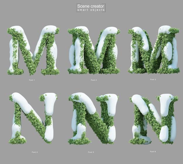 文字mと文字nのシーンクリエーターの形をした茂みの雪の3dレンダリング Premium Psd