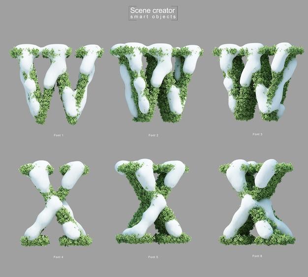 Wとxの文字のシーンクリエーターの形で茂みに雪の3 dレンダリング Premium Psd