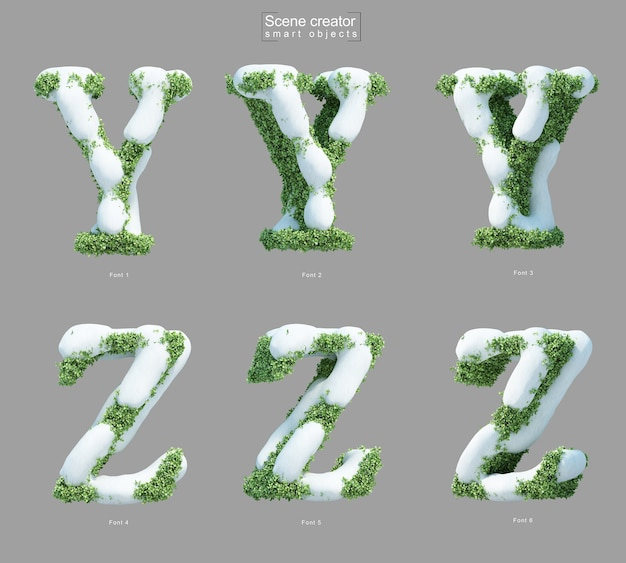 Yとzの文字のシーンクリエーターの形で茂みに雪の3 dレンダリング Premium Psd