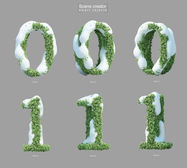 番号0と番号1の形の茂みの雪の3dレンダリング Premium Psd