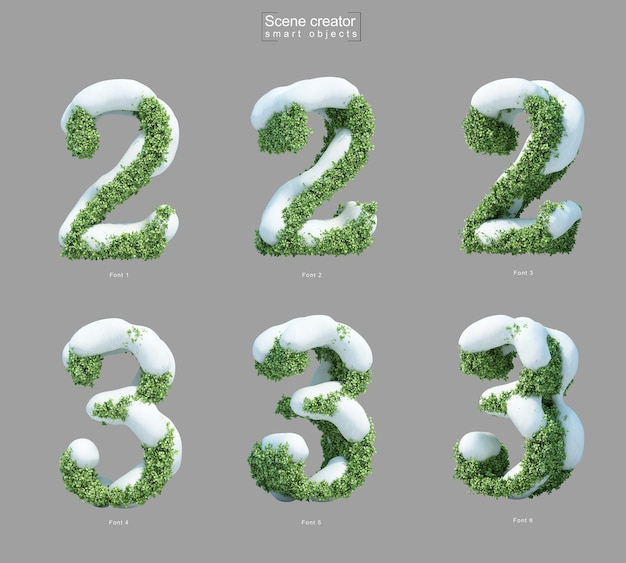 2番と3番の形の茂みの雪の3dレンダリング Premium Psd