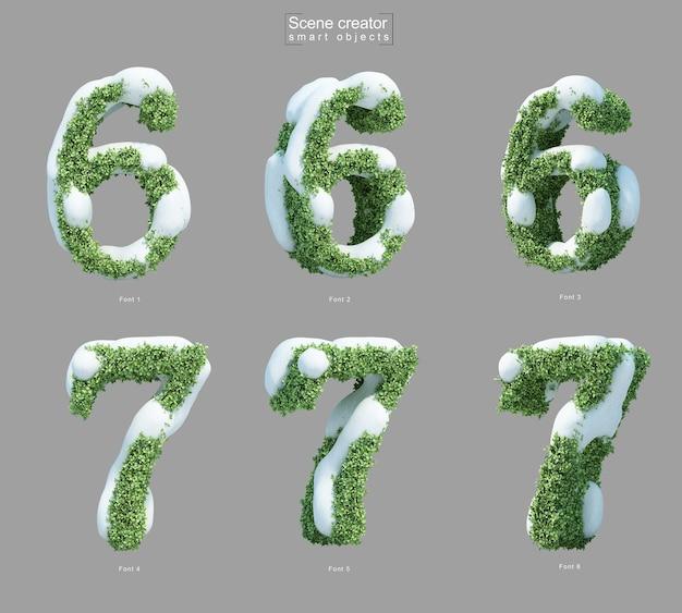 6番と7番の形の茂みの雪の3dレンダリング Premium Psd