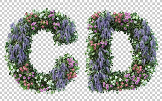 3d-рендеринг вертикального цветочного сада алфавит c и алфавит d изолированы Premium Psd
