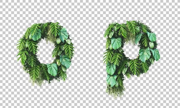 垂直ガーデン小文字アルファベットoとアルファベットpの3 dレンダリング Premium Psd