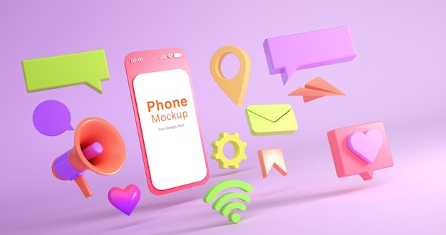 3d rendering of phone mockup and social icon Premium Psd