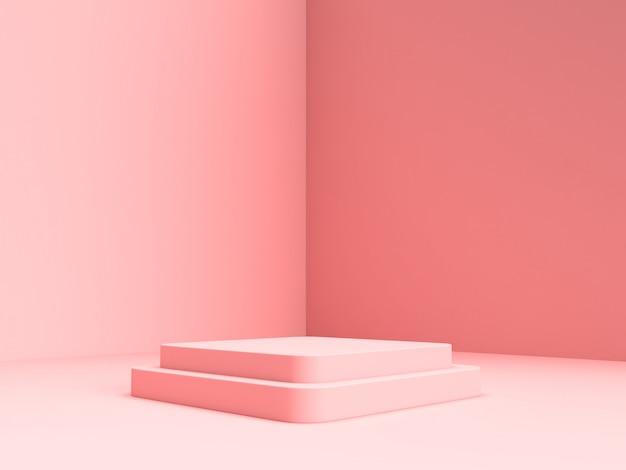 3d представляя розовую пастельную стойку продукта на предпосылке. Premium Psd