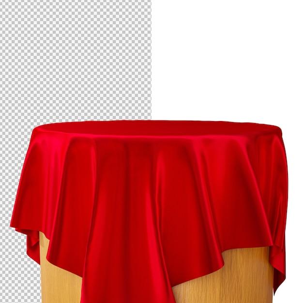 3d-рендеринг подиум с красной шелковой тканью, изолированных иллюстрация Premium Psd