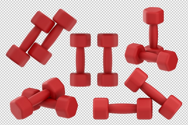 3d rendering red dumbbells isolated on white background Premium Psd