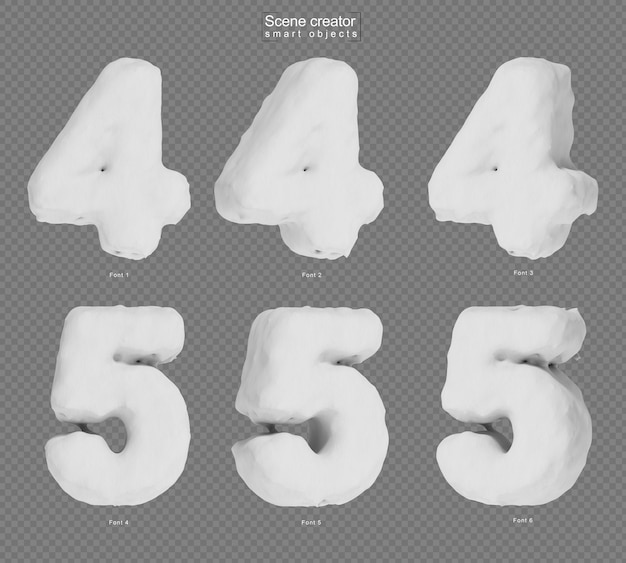 3d rendering of snow number 4 and number 5 Premium Psd