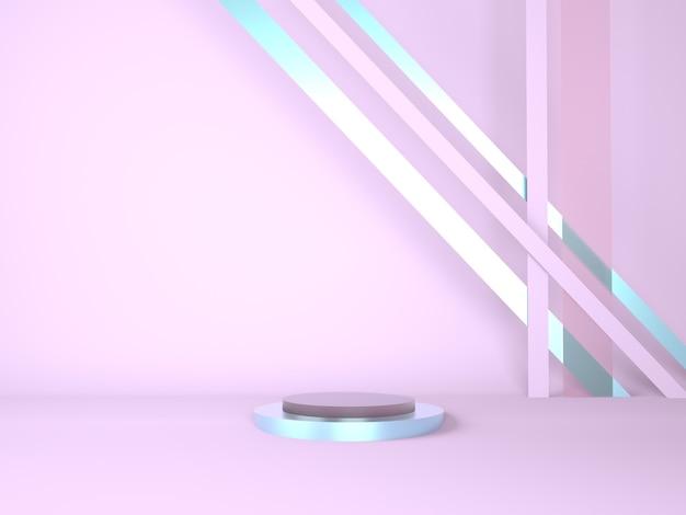 바닥에 연단의 기하학적 형태와 3d 렌더링 스튜디오 프리미엄 PSD 파일