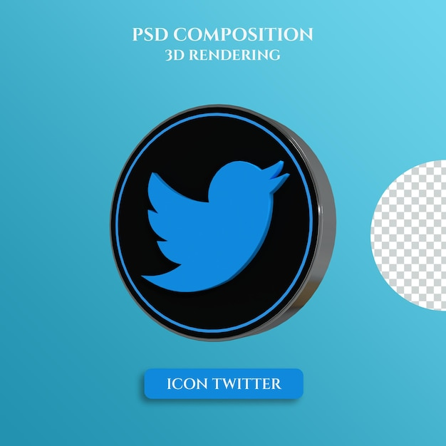 3d rendering of twitter logo with silver metal color circle style