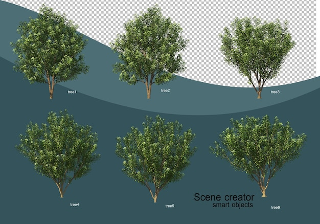 3d rendering of various tree design Premium Psd