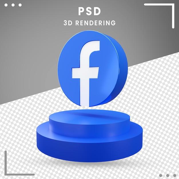3d回転アイコンfacebook分離 Premium Psd