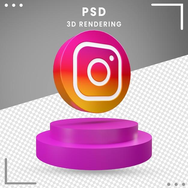 3d回転アイコンロゴinstagram分離 Premium Psd