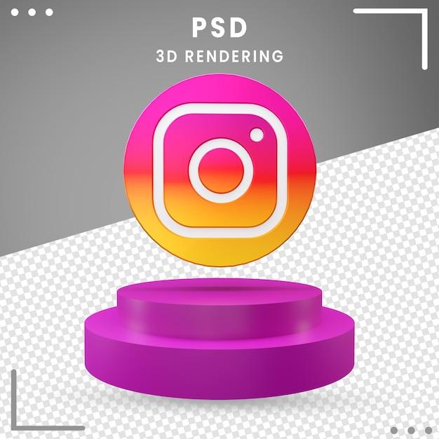 3d回転ロゴアイコンinstagram分離 Premium Psd