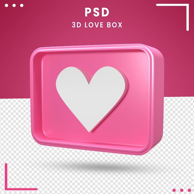 사랑 상자의 3d 회전 로고 프리미엄 PSD 파일