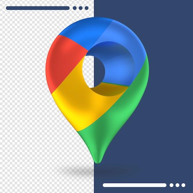 3dレンダリングでのgoogleマップの3d回転ロゴ Premium Psd