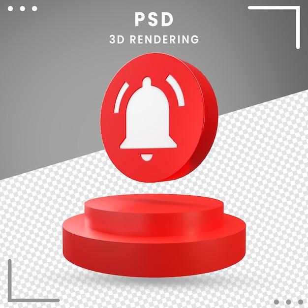 分離された3d回転モダンアイコン通知 Premium Psd