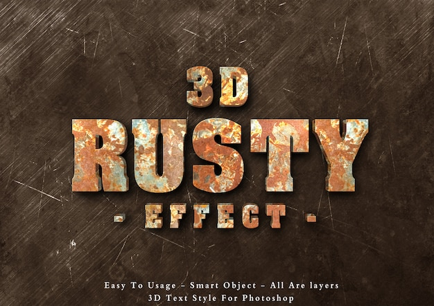 3d rusty text style effect Premium Psd