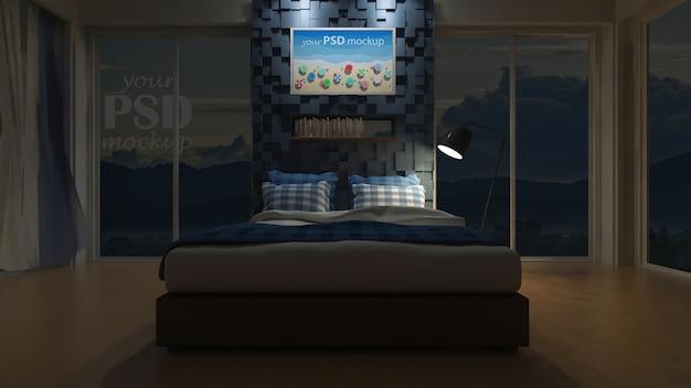 3d seaview bedroom Premium Psd