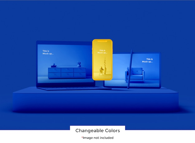 3d set device mockup Premium Psd